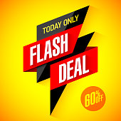 Flash deal, today only flash sale special offer banner template, eps10