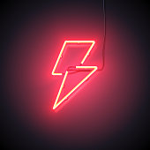 Bright Flash. Neon sign of lightning signboard on the red background. Ready for your design, icon, banner. Vector illustration.