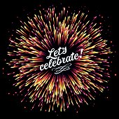 A flash of fireworks on a dark background. A bright burst of festive lights. Congratulation. Glare of light and flickering particles. Template for registration of cards, invitations, pages of a websit