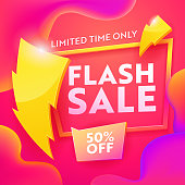 Flash Sale Advertising Modern Banner. Business Ecommerce Discount Promotion Gradient Template. Lightning Sign on Marketing Shopping Coupon Poster Design Vector Illustration