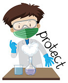 Flashcard design for word protect with boy wearing protection in lab illustration