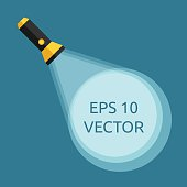 Flashlight and light beam with circle on blue background. Electrical torch with rays. Analysis, search, research concept. Flat style. EPS 10 vector illustration, transparency used