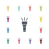 flashlight flat icons set. Open colorful buttons