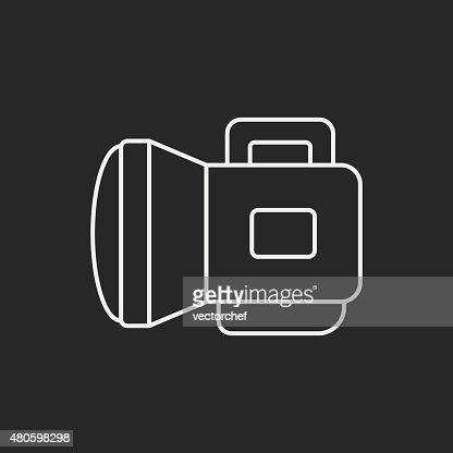 flashlight line icon : Vector Art