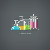 Flasks Beakers and Test-tubes, Chemical Laboratory Equipment on Gray Background, School Chemistry, Vector Illustration