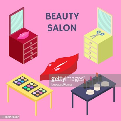 Flat 3d isometric creative Beauty salon. New business. Vector illustration. : Vector Art