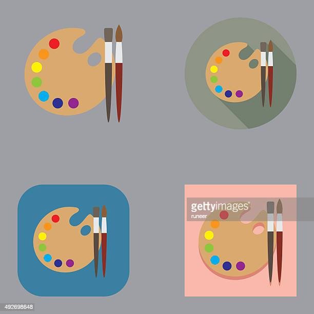 Flat Art Brushes and Palette icons   Kalaful series