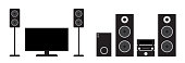 Flat black home cinema and stereo system set. Vector illustration of tv, receiver, subwoofer and speakers