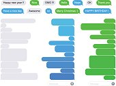 Illustration of SMS Flat Bubbles green, blue and gray with text exemple
