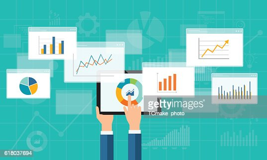 flat business analytics graph on mobile device : stock vector