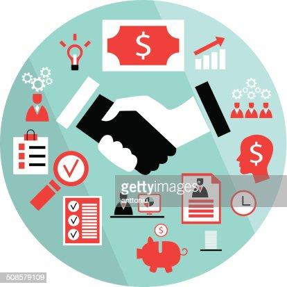Flat business elements handshake partnership concept etc : Vektorgrafik
