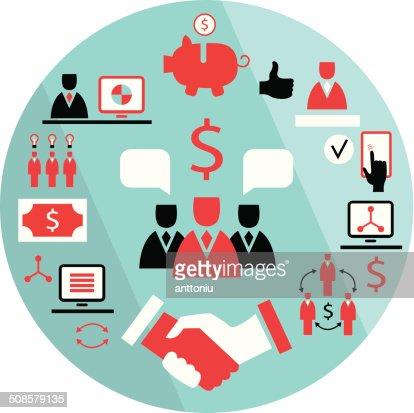 Flat business elements Partnership money earning success concept : Vector Art