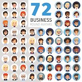 Big set of 72 flat cartoon round avatars. Business people. Clipping paths included.
