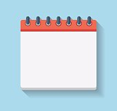 Flat Calendar Icon. Blank calendar template. Vector illustration
