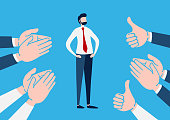 Businessman with many Hands clapping ovation and thumps up, applaud hands. Flat cartoon character. Vector illustration design.