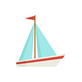 Little sailing ship, boat, sailboat, flat style cartoon vector illustration isolated on white background. Flat cartoon vector illustration of toy boat, sailing ship, sailboat with white sails