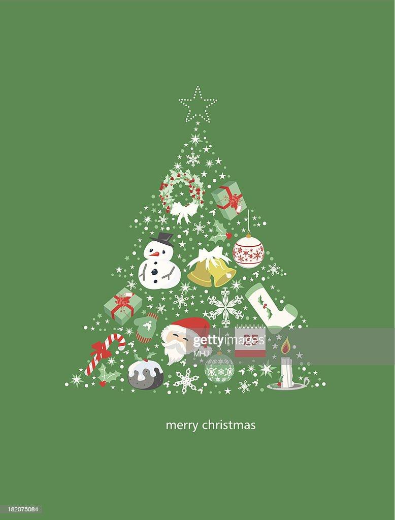 flat christmas tree vector art - Flat Christmas Tree