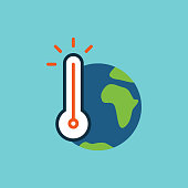 flat color global warming icon on white background