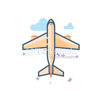 Plana Color Icono Avión Comercial Arte vectorial   Thinkstock