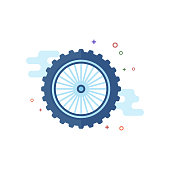 Motorcycle tire icon in outlined flat color style. Vector illustration.