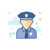 Police avatar icon in outlined flat color style. Vector illustration.