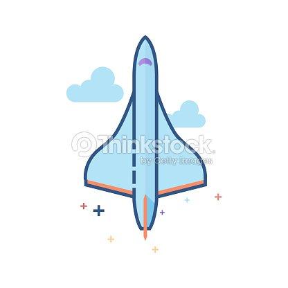 Plana Color Icono Avión Supersónico Arte vectorial   Thinkstock