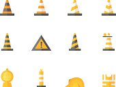 Traffic warning sign icon series in flat colors style. EPS 10. AI, PDF & transparent PNG of each icon included.