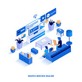 Modern flat design isometric illustration of Watch Movies Online. Can be used for website and mobile website or Landing page. Easy to edit and customize. Vector illustration