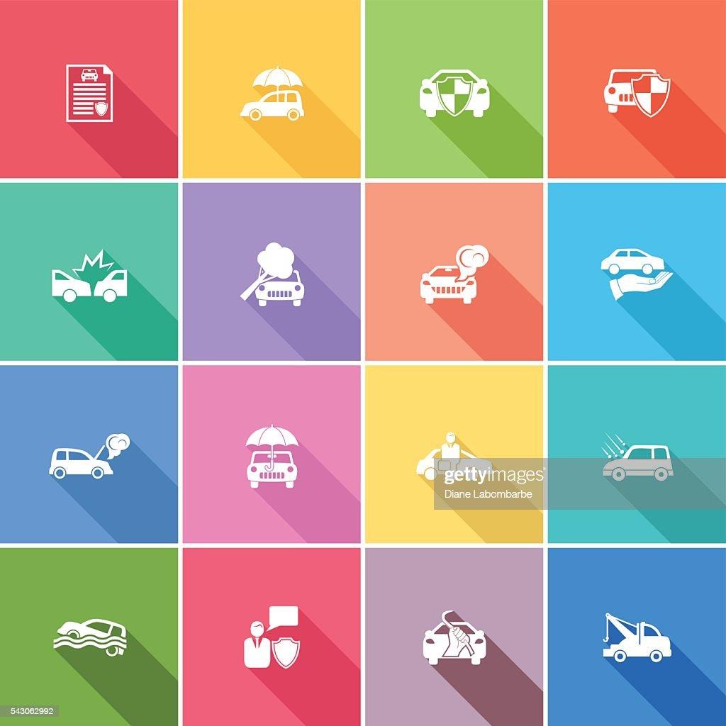 Colors art website - Flat Color Ui Long Shadow Website Auto Insurance Icon Vector Art