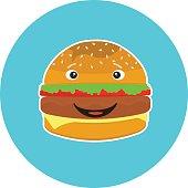 Flat colorful kids smiling hamburger character. Cute laughing burger character sign for bar, cafe, restaurant menu and web advertisement design
