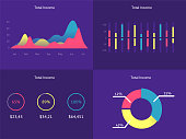 Flat dashboard, set of ui web infographic elements. UI, UX and GUI template layout for Statistic dashboard, widget. Daily calendar. Task manager ux app. User interface