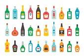 Flat design alcohol bottles set illustration vector