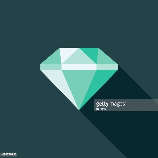 Flat Design Banking and Finance Diamond Icon with Side Shadow
