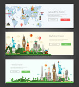 Vector illustration of flat design composition with famous world landmarks icons - banners, headers set