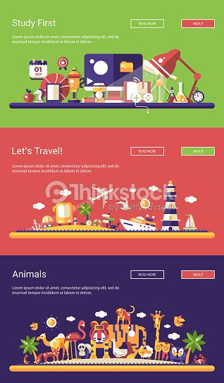 Flat design banners set. School, travel and wild animals