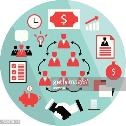 Flache design-Elemente-Partnerschaft business Erfolg Konzept Geld zu sammeln : Vektorgrafik