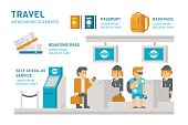 Flat design check-in at airport travel illustration vector