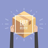Flat design colorful vector illustration concept for delivery service, e-commerce, online shopping, receiving package from courier to customer.Flat design colorful vector illustration concept for deli