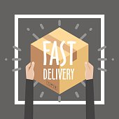 Flat design colorful vector illustration concept for delivery service, e-commerce, online shopping, receiving package from courier to customer.