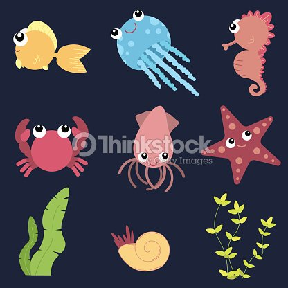 Flat design cute animals set. Underwater life: fish, jellyfish, seahorse, starfish, crab, squid, shells and seaweeds.