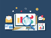 Flat design Data marketing, analytics, search data, website traffic analysis vector banner. Diagram analysis with many colorful charts. Vector creative illustration of marketing with icons, technology