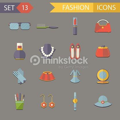 Flat Design Fashion Symbols Accessories Icons Set Vector