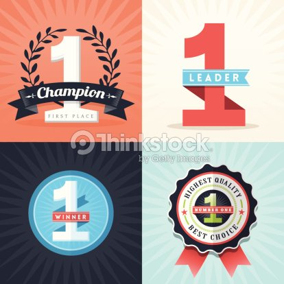 Flat Design First Place Winner Ribbons And Badges stock vector