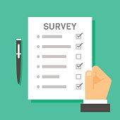 Flat design hand holding survey test paper illustration vector