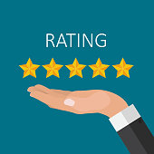 Flat Design Hand with Star Rating.  Evaluation System and Positive Review Sign. Vector Illustration EPS10