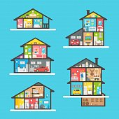 Flat design houses interior set illustration vector
