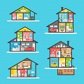 Flat design houses interior set illustration vector