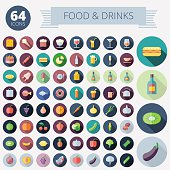 Flat Design Icons For Food, Drinks, Fruits and Vegetables. Vector eps10. Easy to recolor. Transparent shadows and relief in separate layers.