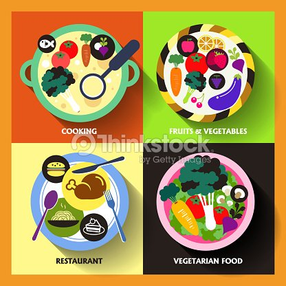 Flat Design Icons For Food And Restaurant Vector Art