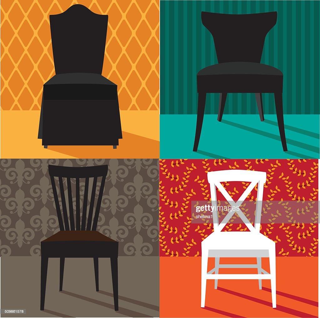 Flache Gestaltung Moderne Stühle Im Pop Art Stil : Vektorgrafik